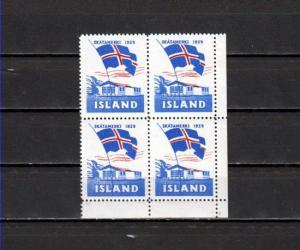 Iceland, 1959 Christmas Seal with Waving Flag, Block of 4.