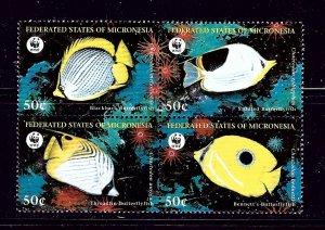 Micronesia 274 MNH 1997 Fish (W.W.F.) block of 4
