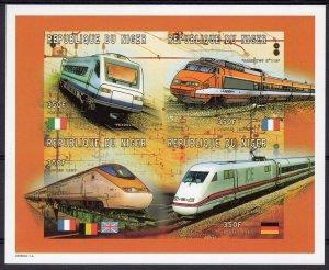 Niger 1997 Sc#955 Modern Locomotives TGV Flags Sheetlet (4) IMPERFORATED MNH