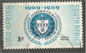 SOUTH AFRICA, 1959, used 3p, South African Academy, Scott 219