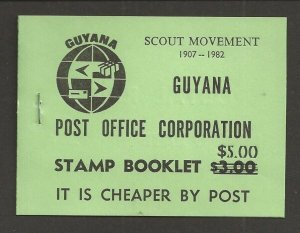 1982 Guyana Boy Scouts Caribbean Jamboree ovpt 'Postage' green booklet