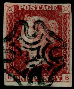 SG8, 1d red-brown, FINE USED. Cat £55. BLACK MX. 4 MARGINS. HB