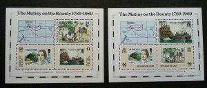 Pitcairn Islands Norfolk Joint Issue Bicentenary Mutiny On Bounty 1989 (ms) MNH