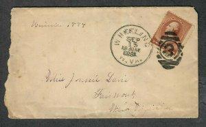 19th Century Cover Sc#210 1884 Wheeling WV