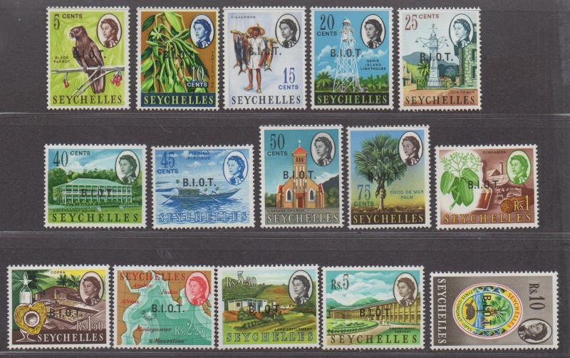 **British Indian Ocean Territory, SC# 1-15 MH, VF Complete Set, CV $55.80