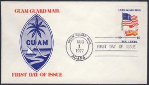 Guam Guard Mail FDC Flag Stamp Aug 1 1977