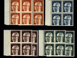 Germany 1970-3 Pres. Gustav Heinemann  Blocks w Dups 40pf - 80pf 28 Stamps MNH