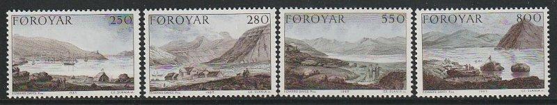 1985 Faroe Islands - Sc 121-4 - MNH VF - 4 single - Dayes Landscapes