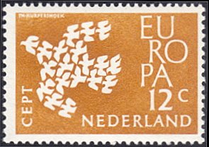 Netherlands # 387 mnh ~ 12¢ Europa - Doves Flying in Dove-shaped Formation