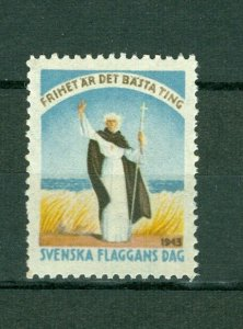 Sweden Poster Stamp Mnh.1943. National Day June 6. Swedish Flag,