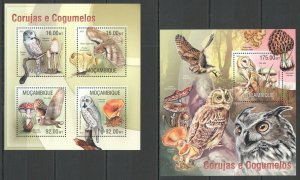 ST2546 2013 MOZAMBIQUE BIRDS FLORA FAUNA MUSHROOMS OWLS KB+BL MNH