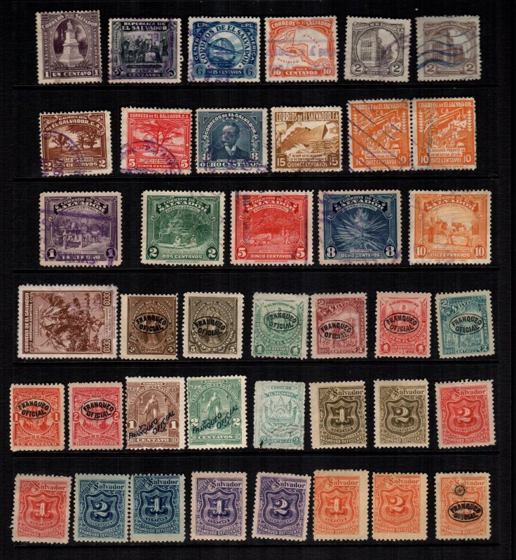 El Salvador  35 diff Used and mint  hinged