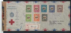 VENEZUELA (P2912B) 1944 RE CROSS FLAGS SET OF 8 REG CENSOR FDC