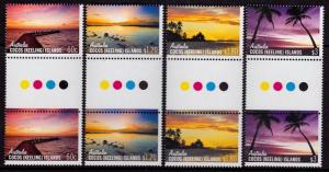 Cocos Islands 361-364 MNH - Skies of Cocos Traffic Light Gutter Pair - 2012