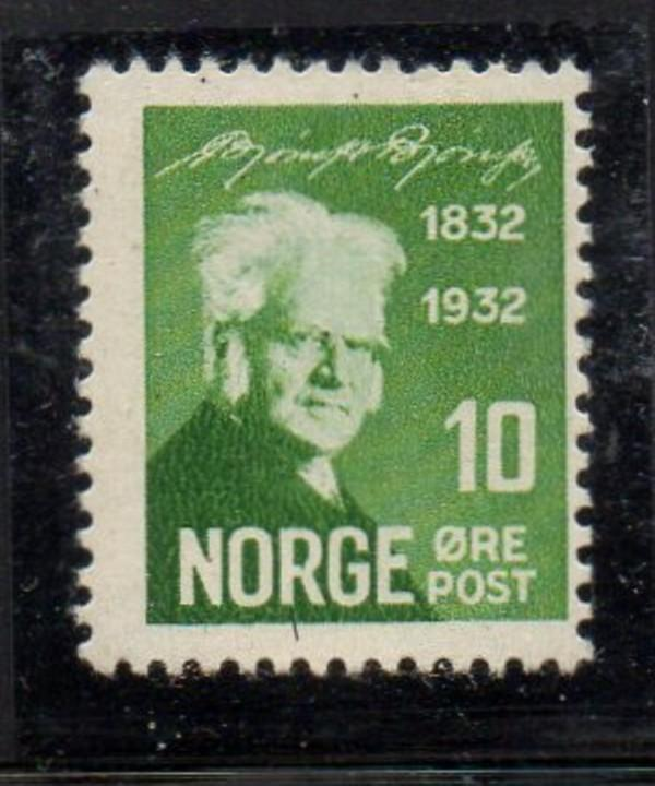 Norway Sc 154 1932 10 ore green Bjornson stamp mint