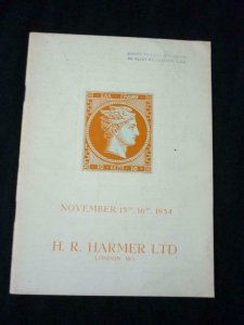 H R HARMER AUCTION CATALOGUE 1954 GREECE FIRST TYPE GOLD MEDAL COLLECTION