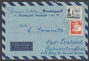 HUNGARY 1958 formular aerogramme commercially used to New Zealand...........J576