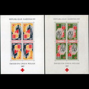GABON 1967 - Scott# C54a-5a S/S(2) Red Cross NH