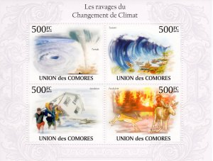 COMORO ISLANDS 2010 YT#1927/1930 CLIMATE CHANGE FAUNA-SHIPS Sheetlet (4) MNH