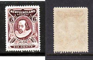 Newfoundland-Sc#98-unused NH og 6c brown violet Lord bacon-perf 14-1911-Nwf386-