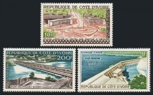 Ivory Coast C14-C16,hinged.Mi 207-209. Air 1959.Lapalud Place,Bridge,Ayame Dam.