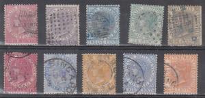 Straits Settlements Scott 11,12,14,15,18,43,45,49,50,56 Used (CV $103.70)