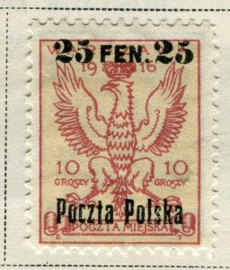 POLAND; 1918 early classic surcharged issue Mint hinged 25f. value