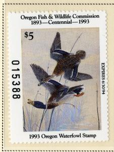 US OR10 OREGON STATE DUCK STAMP 1993 MNH SCV $14.00 BIN $7.00