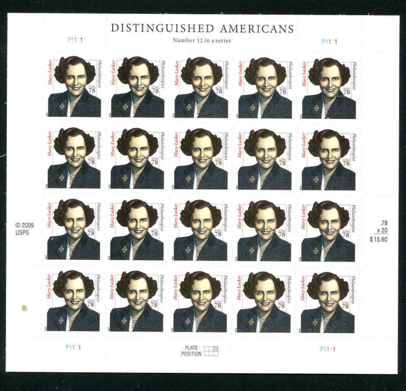 # 4432b Mary Lasker 2009 Sheet of 20 78¢ Distinguished Americans Series Sheet