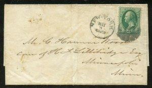 U.S. Scott 147 on Folded 1870 Letter to Minneapolis, Minnesota from New York