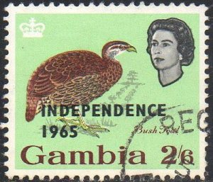 Gambia 1965 2/6d Bush Fowl with 'Independence 1965' ovpt used