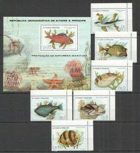 P1020 1979 SAO TOME & PRINCIPE FISH & MARINE LIFE #612-7+BL41 MICHEL 38 EURO MNH