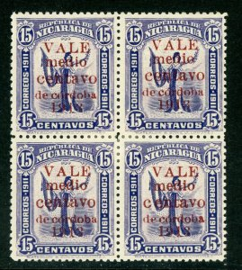 Nicaragua 1913 Gold Liberty ½¢/15¢ Red Block  Sc 312 Mint W794