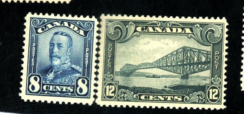 CANADA #154 156 MINT FVF OG LH Cat $64