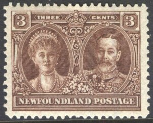 NEWFOUNDLAND 147 1928 3c KING GEORGE V AND QUEEN MARY PICTORIAL ISSUE VF MNH