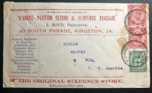 1915 Kingston Jamaica Advertising Cover To Waupun Wi USA Sixpence Store