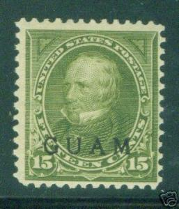 GUAM Scott 10 mint hinged 19th century OPT Clay stamp