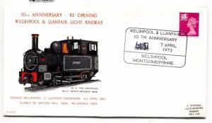 AJ210 1973 GB WALES Welspool Llanfair Light RAILWAY Letter Cover
