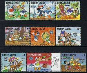 Sierra Leone Scott 657-664 (9) Mint Never Hinged - Walt Disney Donald Duck