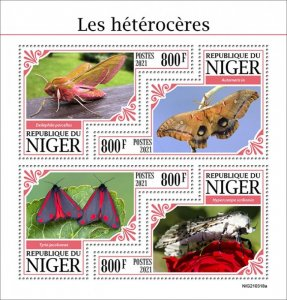 NIGER - 2021 - Moths - Perf 4v Sheet -Mint Never Hinged
