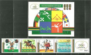 Turkmenistan MNH S/S & 4 Stamps 22-3 Barcelona Summer Olympics SCV 19.25