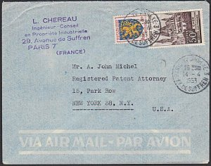 FRANCE 1953 53f airmail rate cover Paris to USA.............................K325