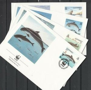 Guernsey, Scott cat. 441-444. Marine Life, W.W.F issue. 4 First Day Covers.