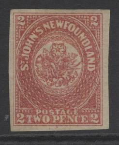 NEWFOUNDLAND SG17 1862 2d ROSE-LAKE MTD MINT