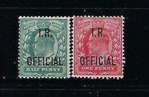 GREAT BRITAIN SCOTT #O19-O20 1902-04 EDWARD VII  I.R. OFFICIALS -MINT LH/HINGED