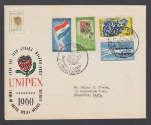 South Africa Sc 236-239 on 1960 UNIPEX Cover with UNIPEX label, tri-color cachet
