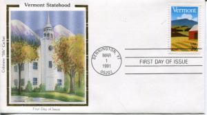 US FDC Scott #2533 Vermont. Colorano Cachet. Free Shipping.