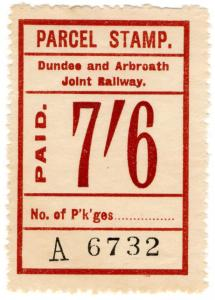 (I.B) Dundee & Arbroath Joint Railway : Parcel Stamp 7/6d