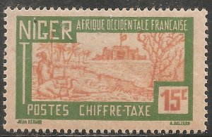 Niger Postage Due Stamp - Scott #J13/D2 15c Green & Orange OG Mint/LH 1927