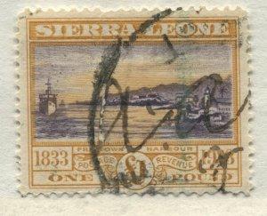 Sierra Leone KGV 1933 £1 revenue used